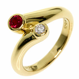 MIKIMOTO Diamond 18k Yellow Gold Ruby Ring