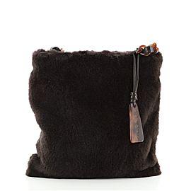 Chanel Vintage Resin Chain Flat Shoulder Bag Fur Small
