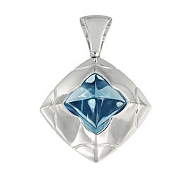 Bulgari Piramide Collection 18k White Gold Blue Topaz Pendant