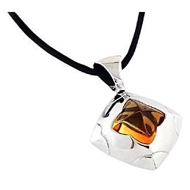 Bulgari Piramide Collection 18k White Gold 7.10ct citrine Necklace