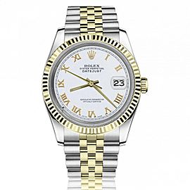 Rolex 36mm Datejust White Dial with Roman Numeral Markers 18k Yellow Gold Fluted Bezel