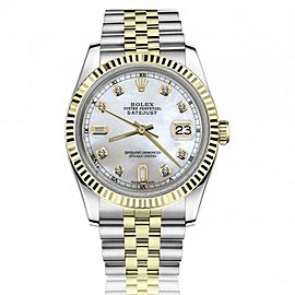 Rolex 36mm Datejust White Mother Of Pearl Dial with Baguettes & Round Diamonds