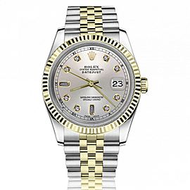 Rolex Datejust 36mm Silver Face with Diamond Numbers & Roman Numeral Track Jubilee Band