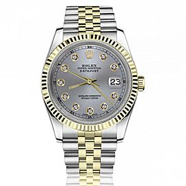 Rolex 36mm Datejust Grey Dial with Diamonds 18k Yellow Gold Fluted Bezel Automatic Watch