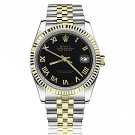 Rolex 36mm Datejust Black Roman Numeral Dial Fluted Yellow Gold Bezel Jubilee Band