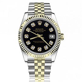 Rolex 36mm Datejust Black Diamond Accent Dial Swiss-Made Two Tone Jubilee Watch