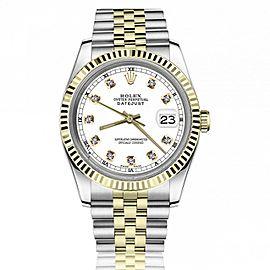 Rolex 36mm Datejust White Diamond Dial Fluted Bezel Two Tone Jubilee Deployment Buckle