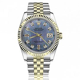 Rolex 36mm Datejust Tahitian Mother of Pearl 8+2 Diamond Dial Yellow Gold Fluted Bezel