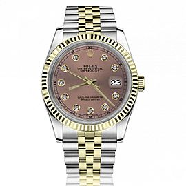 Rolex 36mm Datejust Salmon Dial with Round Diamond Markers Gold Fluted Bezel Jubilee Band