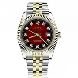 Rolex Oyster Perpetual 36mm Datejust Red Vignette Diamond Accent Dial Fluted Bezel