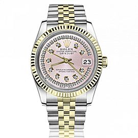Rolex 36mm Datejust Pink Face with Two Rows Of Diamonds Jubilee Bracelet Gold Fluted Bezel