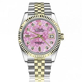 Rolex 36mm Datejust Pink Flower Mother of Pearl Dial with Baguette & Round Diamonds Jubilee