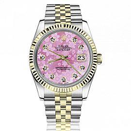 Rolex 36mm Datejust Pink Flower Diamond Face Stainless Steel & 18k Gold Watch