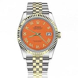 Rolex 36mm Datejust Orange Dial with Roman Numerals Two Tone Jubilee Watch