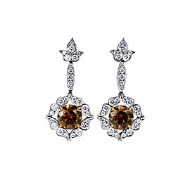 Leibish 18K White and Rose Gold Fancy Brown Drop Halo Earrings