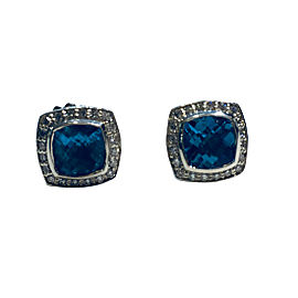David Yurman Albion 925 Sterling Silver Blue Topaz 0.25ctw Diamond Earrings