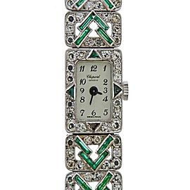 Chopard Art Deco Gold Diamond Emerald Watch