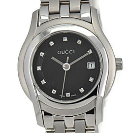 GUCCI 5500L 11P Diamond Black Dial Date Quartz Women's Watch