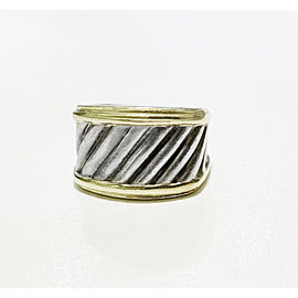 David Yurman 14k Gold & Silver Cable Wide Band Ring