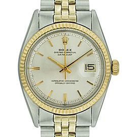 Rolex Datejust 1601 Stainless Steel & 18K Yellow Gold White Linen Dial 36mm Mens Watch