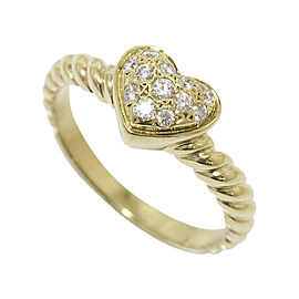 Mikimoto 18K Yellow Gold Diamond Ring Size 4.75