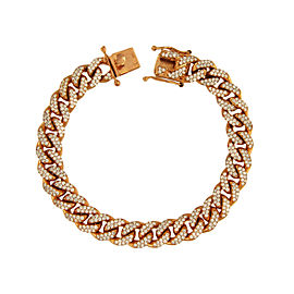 14K Rose Gold Diamond Miami Cuban Link Bracelet