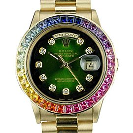 Rolex Day-Date 18038 18K Yellow Gold Custom Green Vignette Dial Diamond Sapphire Automatic Vintage 36mm Mens Watch 1980