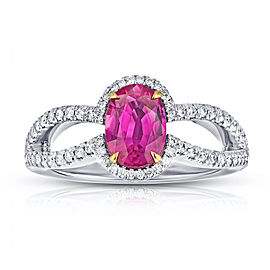 Platinum 1.54ct. Ruby 0.44ctw. Diamond Ring Size 7