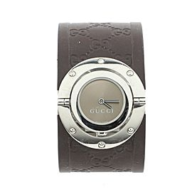 Gucci Wide Twirl Quartz Watch Stainless Steel and Guccissima Leather 23