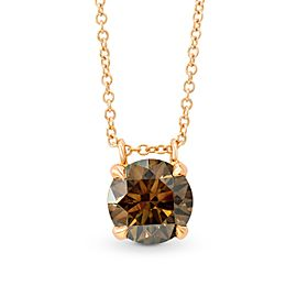 Leibish 18K Rose Gold Fancy Brown Round Diamond Pendant Necklace