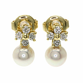 MIKIMOTO 18K Yellow Gold Akoya Pearl Pearl Diamond earring