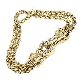 David Yurman 18K Yellow Gold with Diamond Wheat Chain Bracelet