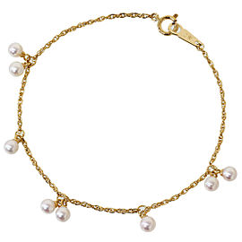 TASAKI 18K Yellow Gold Pearl Design Chain Bracelet