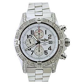 Breitling Super Avenger A13370 Stainless Steel & Diamonds 48mm Mens Watch