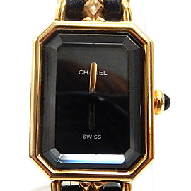 CHANEL Premiere XL Size Gold Plated/Leather Black Wrist Watch TBRK-128