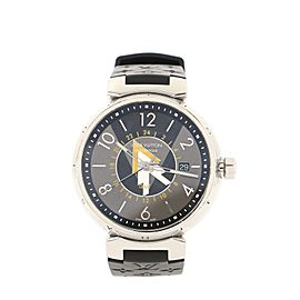 Louis Vuitton Tambour VVV GMT Automatic Watch Stainless Steel and Monogram Rubber 41