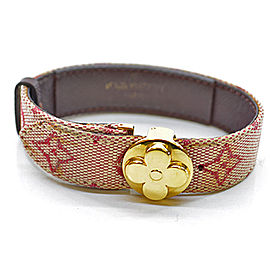 Louis Vuitton Canvas And Gold Tone Metal Bracelet