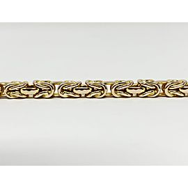 14k Yellow Gold Thick Byzantine Link Chain Bracelet