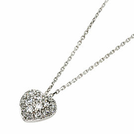 CARTIER 18K White Gold Pave Heart Diamond Necklace
