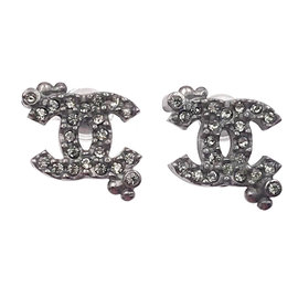 Chanel Gunmetal CC Dot Crystal Small Earrings
