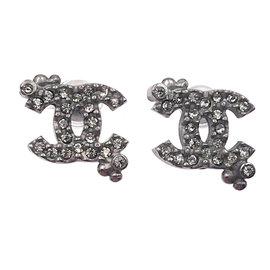 Chanel Gunmetal CC Dot Crystal Small Earrings