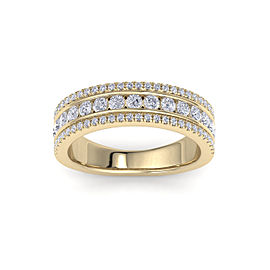 GLAM ® Three-row ring in 14K gold with white diamonds of 0.93 ct in weight