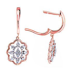 Diamond Floral Latch Back Drop Earrings 2/5 CTW 10k Rose Gold