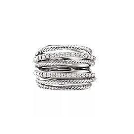 David Yurman Sterling Silver Crossover Wide Ring with Diamonds