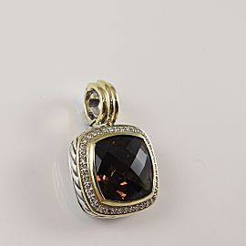 David Yurman Sterling Silver 18K Yellow Gold .30tcw 14mm Smoky Quartz Diamond Albion Enhancer