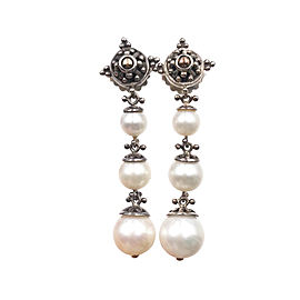 John Hardy 925 Sterling Silver 18K Yellow Gold Cultured Pearl Earrings