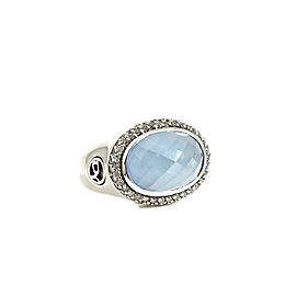 David Yurman Sterling Silver .36tcw 14x10mm E/W Blue Topaz Doublet Diamond Solid Shank Ring