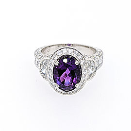 Jack Kelege LPR379 Platinum Amethyst, Diamonds Ring
