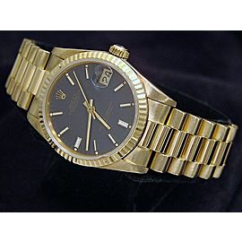 Mid Size Rolex 18K Yellow Gold Datejust President Blue 68278