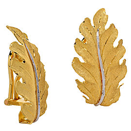 Buccellati 18K Yellow Gold Leaf Motif Earrings